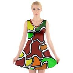 Africa abstraction V-Neck Sleeveless Skater Dress