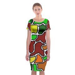 Africa abstraction Classic Short Sleeve Midi Dress
