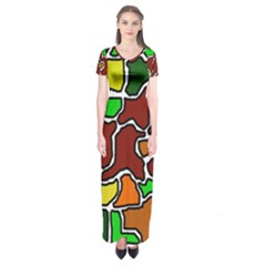 Africa abstraction Short Sleeve Maxi Dress