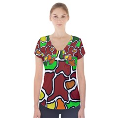 Africa abstraction Short Sleeve Front Detail Top