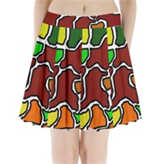 Africa abstraction Pleated Mini Mesh Skirt
