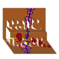 Brown abstraction You Rock 3D Greeting Card (7x5)