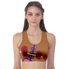 Brown abstraction Sports Bra