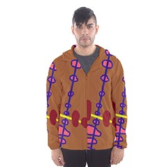 Brown abstraction Hooded Wind Breaker (Men)