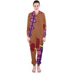 Brown abstraction Hooded Jumpsuit (Ladies)