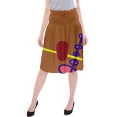 Brown abstraction Midi Beach Skirt