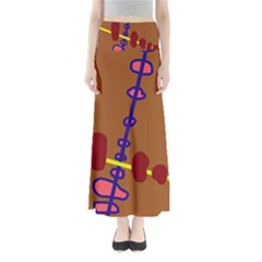 Brown Abstraction Maxi Skirts