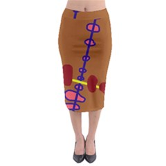 Brown Abstraction Midi Pencil Skirt