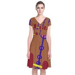 Brown abstraction Short Sleeve Front Wrap Dress
