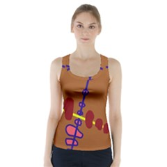 Brown abstraction Racer Back Sports Top