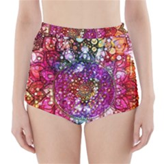 Distressed Mandala High-Waisted Bikini Bottoms