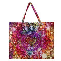 Distressed Mandala Zipper Large Tote Bag