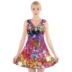 Distressed Mandala V-Neck Sleeveless Skater Dress