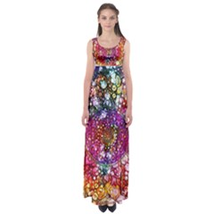 Distressed Mandala Empire Waist Maxi Dress