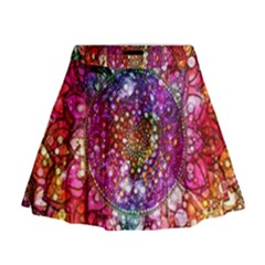 Distressed Mandala Mini Flare Skirt