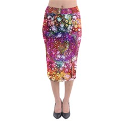 Distressed Mandala Midi Pencil Skirt