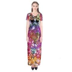 Distressed Mandala Short Sleeve Maxi Dress