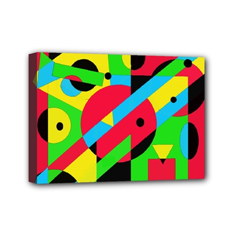 Colorful geometrical abstraction Mini Canvas 7  x 5