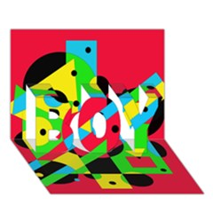 Colorful geometrical abstraction BOY 3D Greeting Card (7x5)