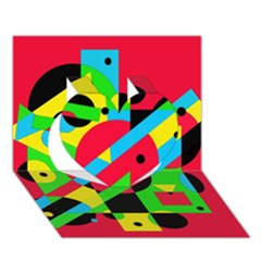 Colorful geometrical abstraction Heart 3D Greeting Card (7x5)