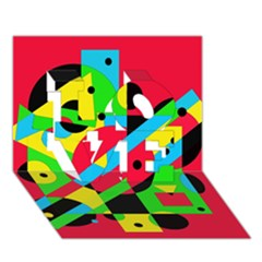 Colorful geometrical abstraction LOVE 3D Greeting Card (7x5)