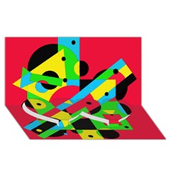 Colorful geometrical abstraction Twin Heart Bottom 3D Greeting Card (8x4)