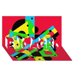 Colorful geometrical abstraction ENGAGED 3D Greeting Card (8x4)