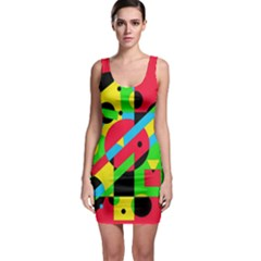 Colorful geometrical abstraction Sleeveless Bodycon Dress