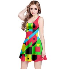 Colorful geometrical abstraction Reversible Sleeveless Dress