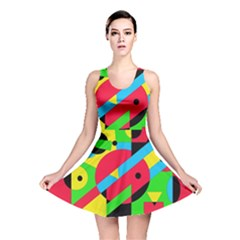 Colorful geometrical abstraction Reversible Skater Dress