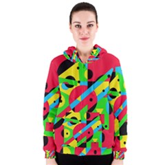 Colorful geometrical abstraction Women s Zipper Hoodie
