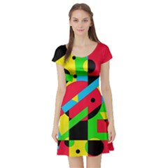 Colorful geometrical abstraction Short Sleeve Skater Dress