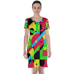 Colorful geometrical abstraction Short Sleeve Nightdress