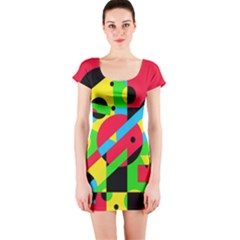 Colorful geometrical abstraction Short Sleeve Bodycon Dress