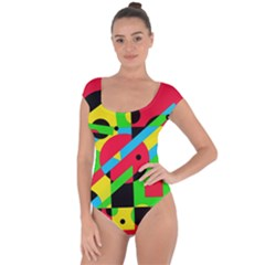 Colorful geometrical abstraction Short Sleeve Leotard