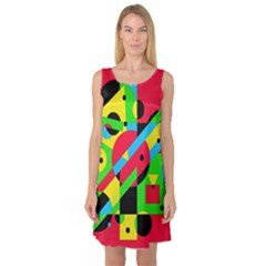 Colorful geometrical abstraction Sleeveless Satin Nightdress