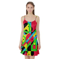 Colorful geometrical abstraction Satin Night Slip