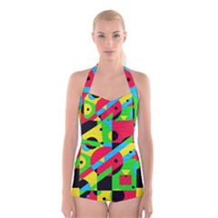 Colorful geometrical abstraction Boyleg Halter Swimsuit