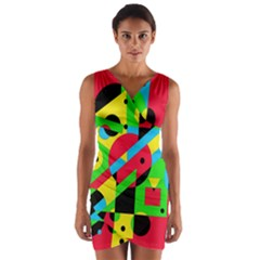 Colorful geometrical abstraction Wrap Front Bodycon Dress