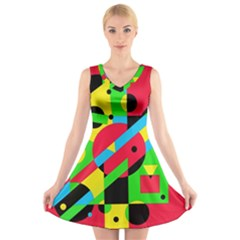 Colorful geometrical abstraction V-Neck Sleeveless Skater Dress