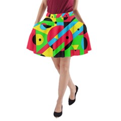 Colorful geometrical abstraction A-Line Pocket Skirt