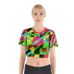 Colorful geometrical abstraction Cotton Crop Top