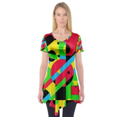 Colorful Geometrical Abstraction Short Sleeve Tunic