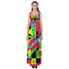 Colorful geometrical abstraction Empire Waist Maxi Dress