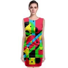 Colorful geometrical abstraction Classic Sleeveless Midi Dress