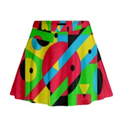 Colorful geometrical abstraction Mini Flare Skirt