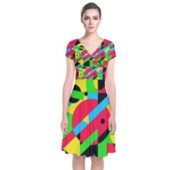 Colorful geometrical abstraction Short Sleeve Front Wrap Dress