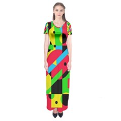 Colorful geometrical abstraction Short Sleeve Maxi Dress