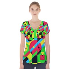 Colorful Geometrical Abstraction Short Sleeve Front Detail Top