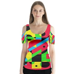 Colorful geometrical abstraction Butterfly Sleeve Cutout Tee